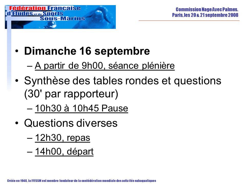 Synthèse des tables rondes et questions (30 par rapporteur)