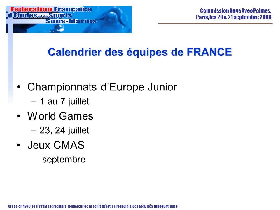 Calendrier des équipes de FRANCE