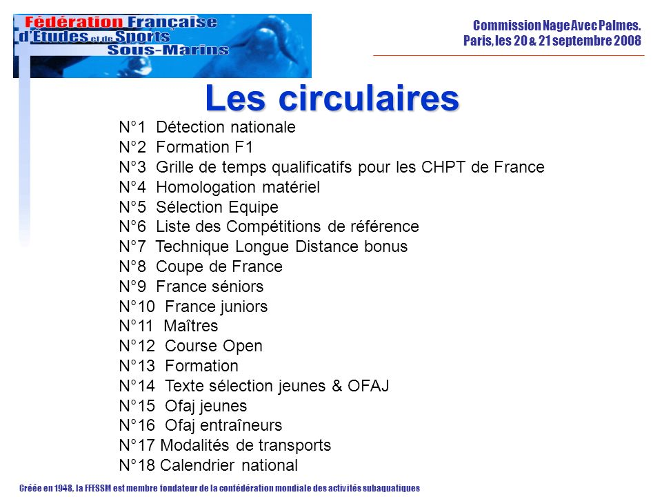 Les circulaires N°1 Détection nationale N°2 Formation F1