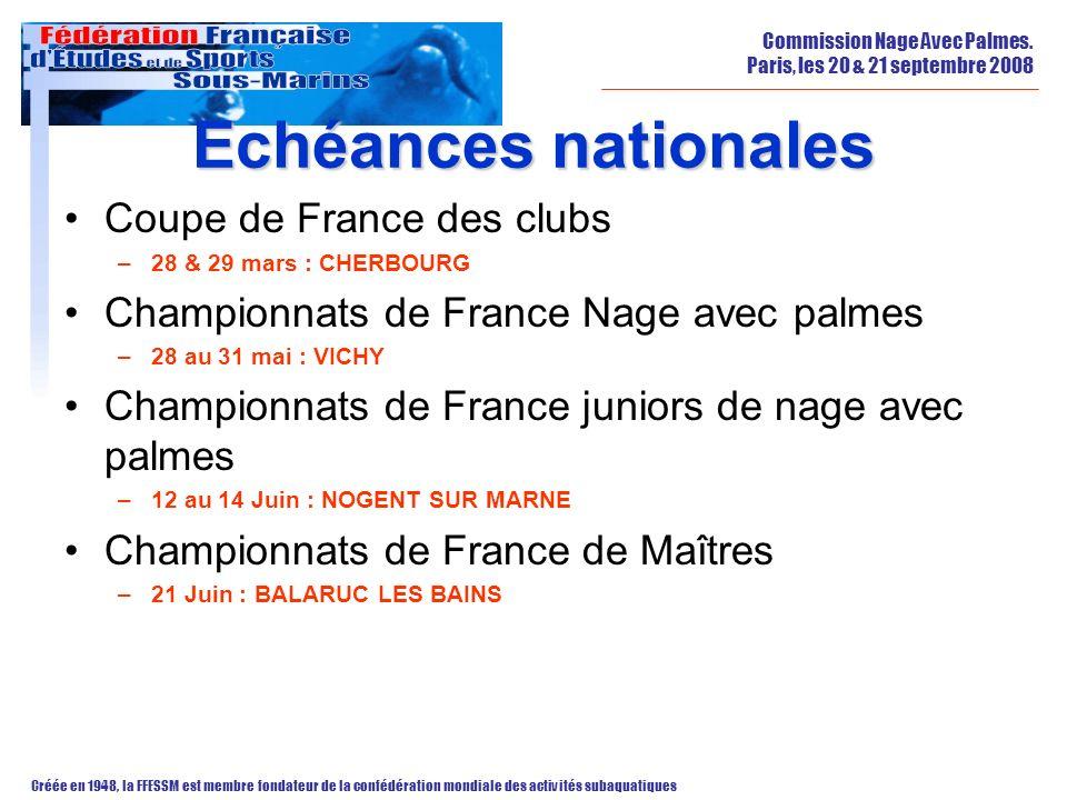 Echéances nationales Coupe de France des clubs