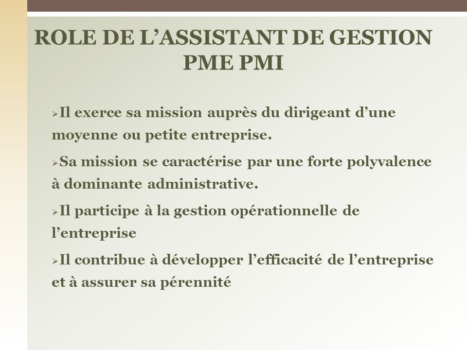 ROLE DE L'ASSISTANT DE GESTION PME PMI