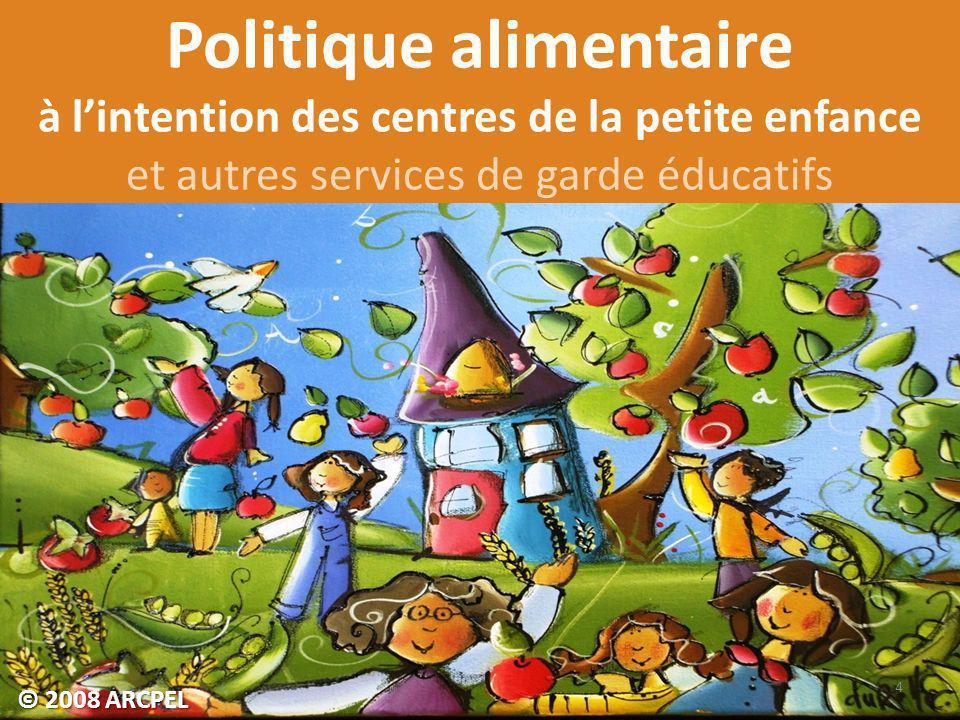Politique alimentaire à l'intention des centres de la petite enfance et autres services de garde éducatifs