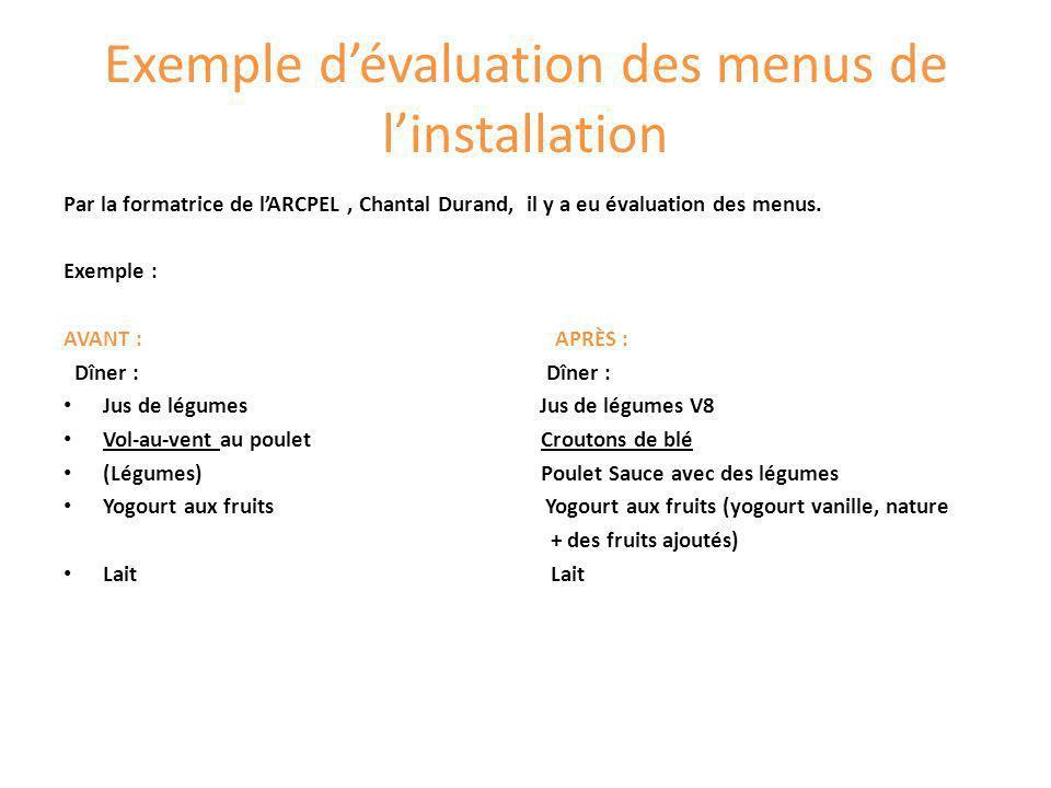 Exemple d'évaluation des menus de l'installation