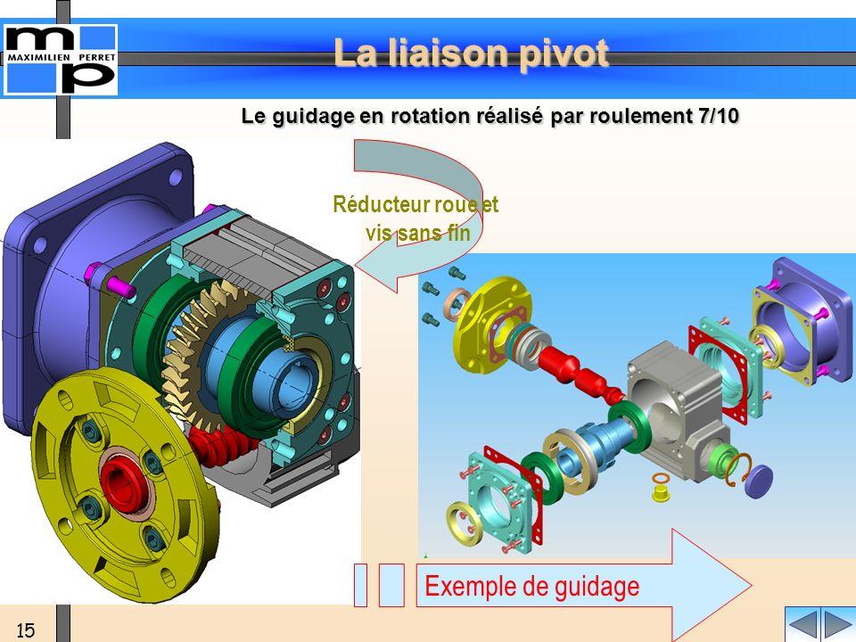 Exemple de guidage Réducteur roue et vis sans fin