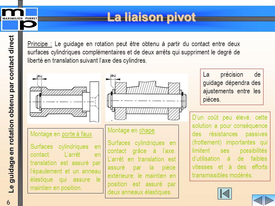 Principe : Le guidage en rotation peut être obtenu à partir du contact entre deux surfaces cylindriques complémentaires et de deux arrêts qui suppriment le degré de liberté en translation suivant l'axe des cylindres.