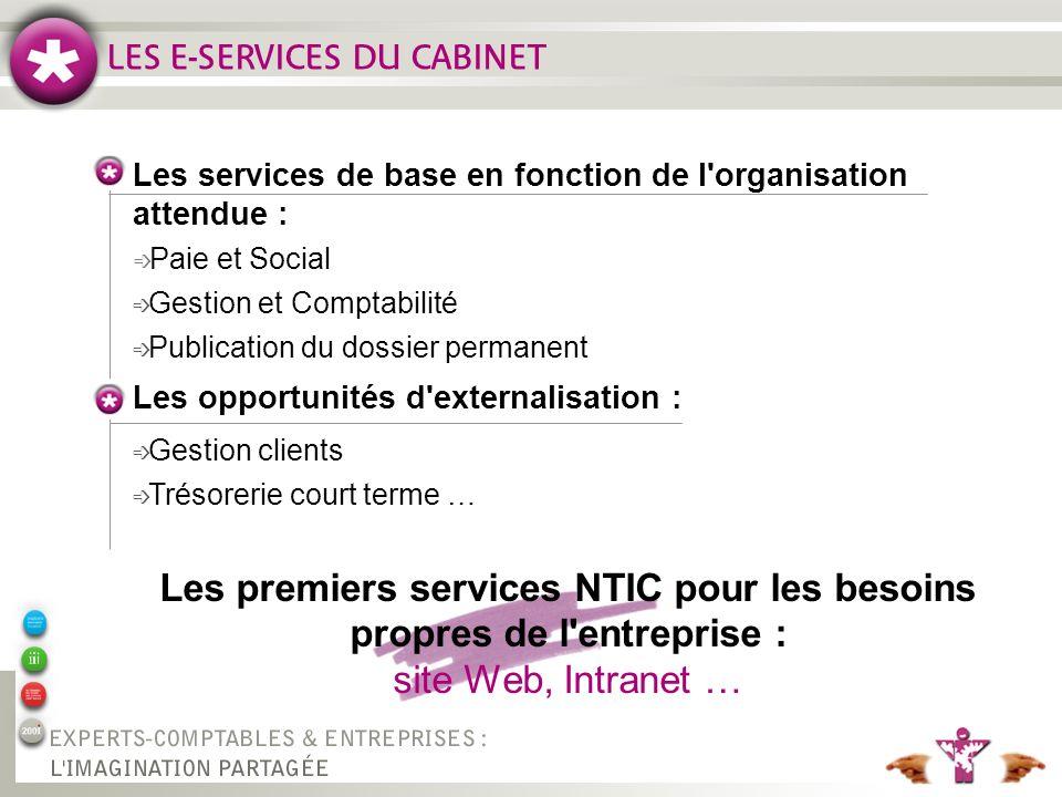 Les premiers services NTIC pour les besoins propres de l entreprise :