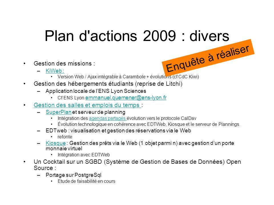 Plan d actions 2009 : divers Enquête à réaliser Gestion des missions :