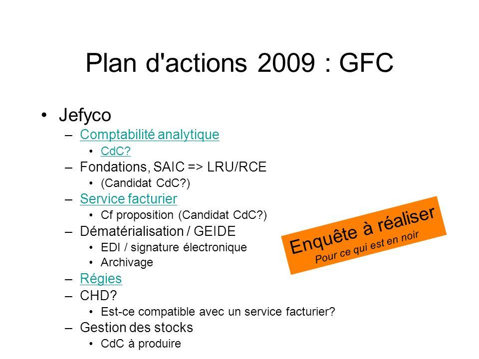 Plan d actions 2009 : GFC Jefyco Enquête à réaliser