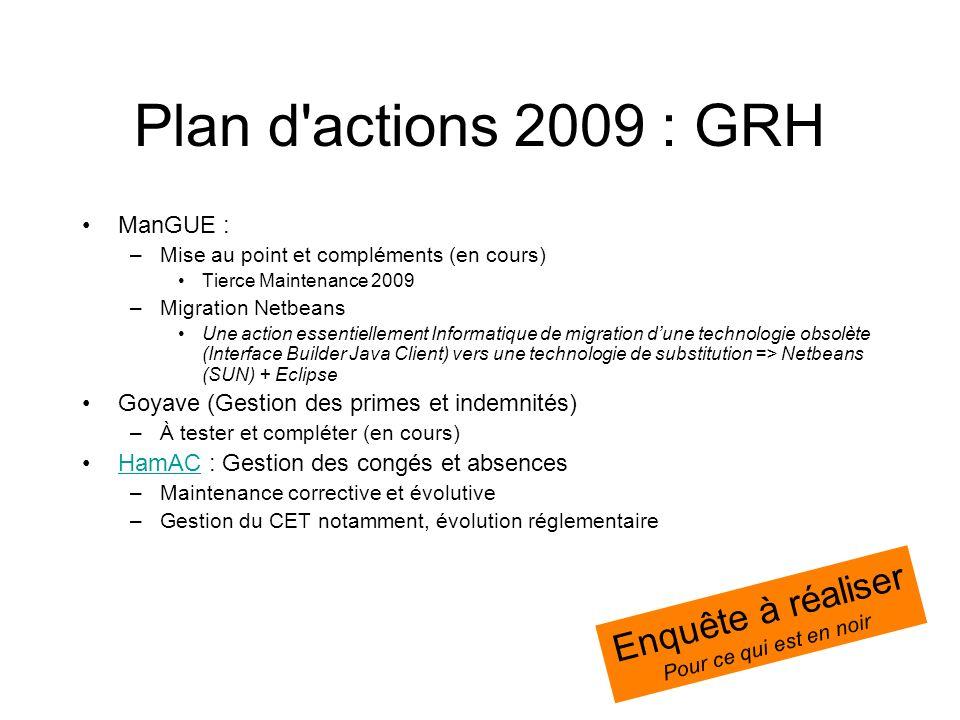 Plan d actions 2009 : GRH Enquête à réaliser ManGUE :