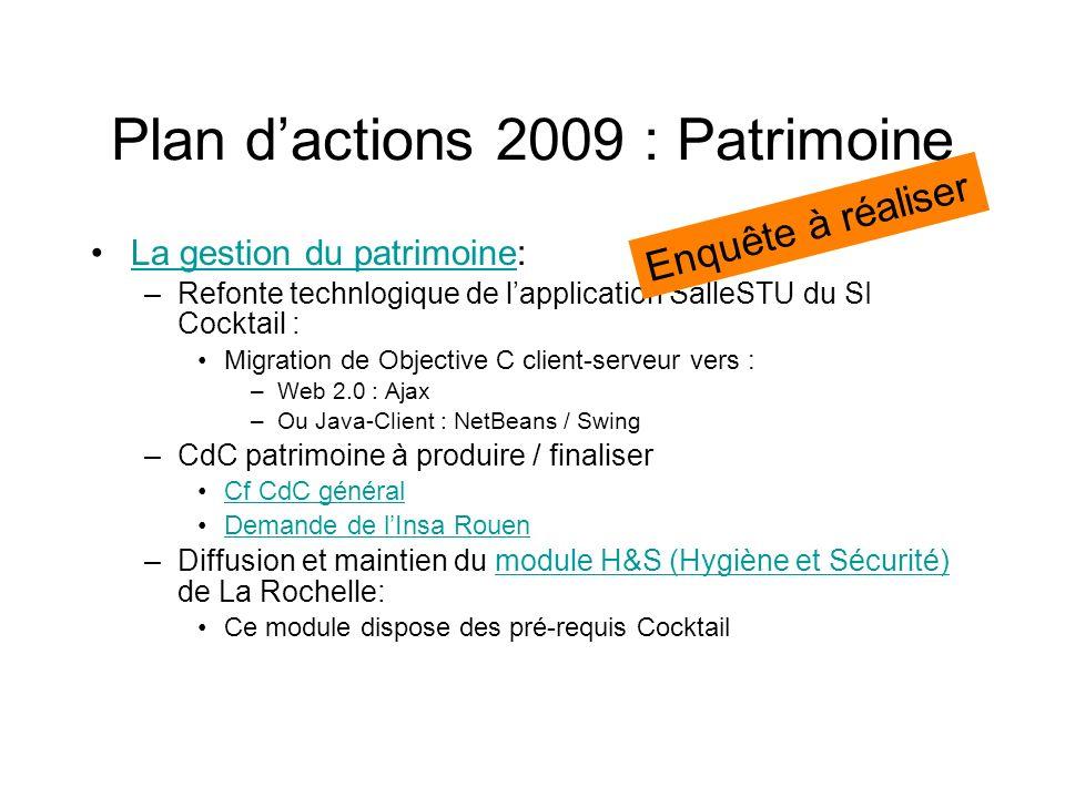 Plan d'actions 2009 : Patrimoine