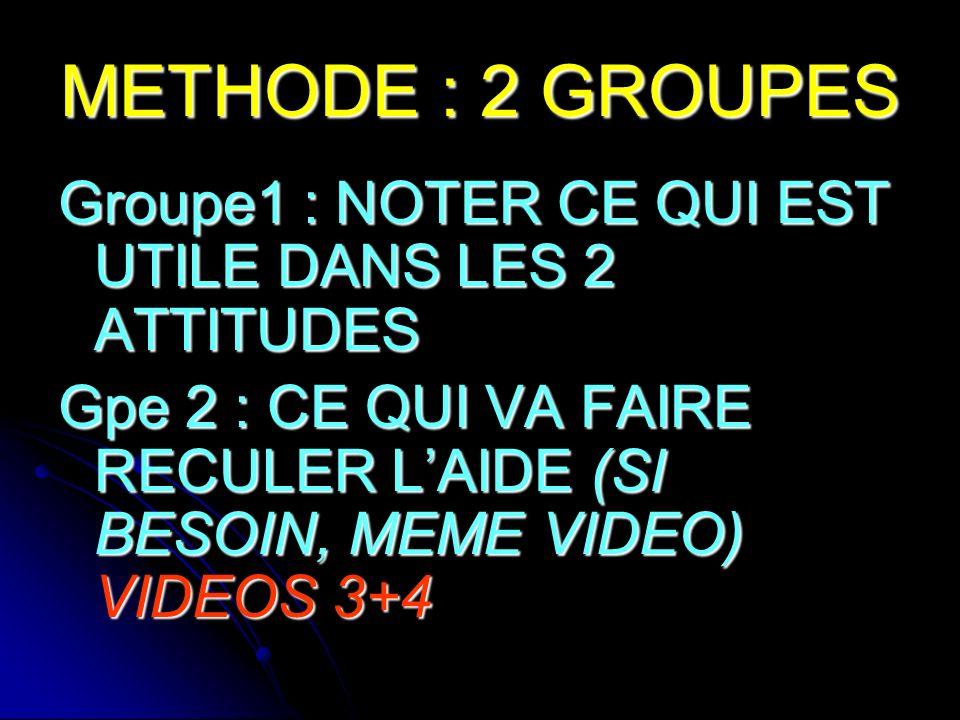 METHODE : 2 GROUPES Groupe1 : NOTER CE QUI EST UTILE DANS LES 2 ATTITUDES.