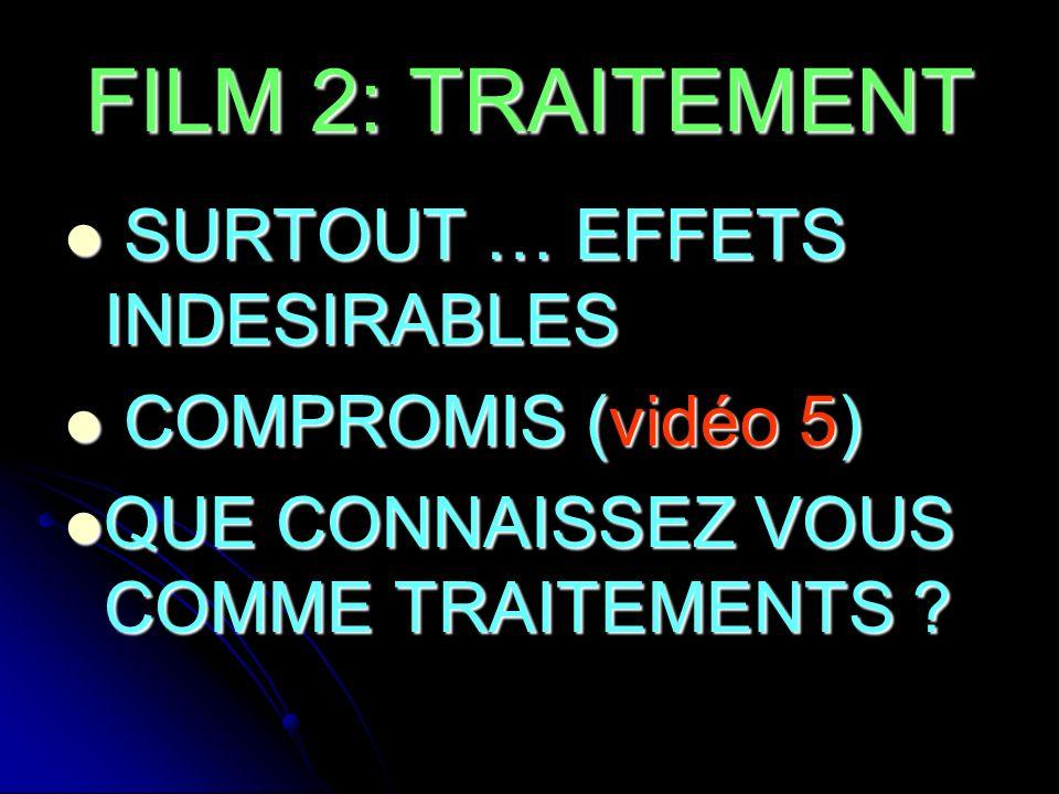 FILM 2: TRAITEMENT SURTOUT … EFFETS INDESIRABLES COMPROMIS (vidéo 5)