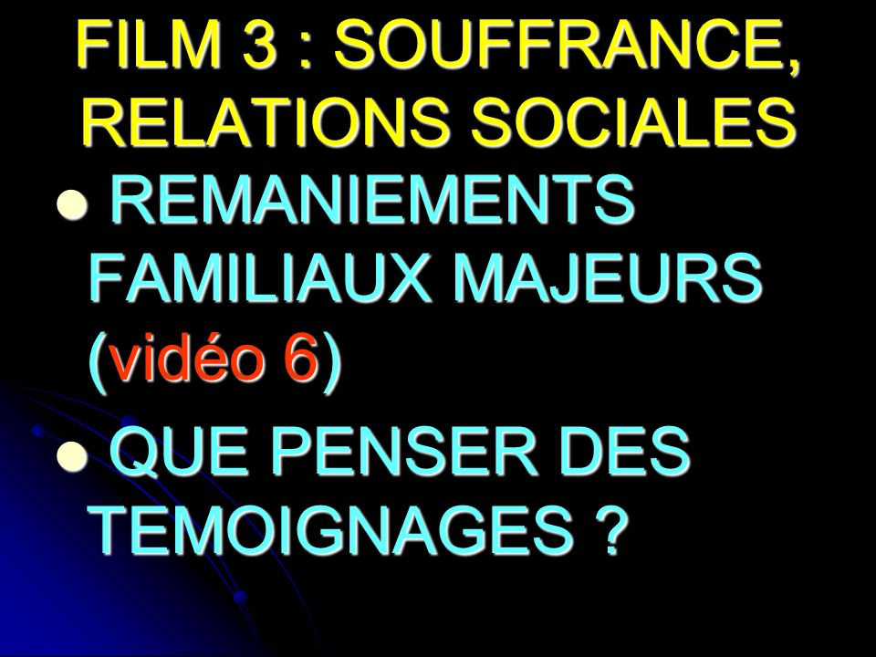 FILM 3 : SOUFFRANCE, RELATIONS SOCIALES