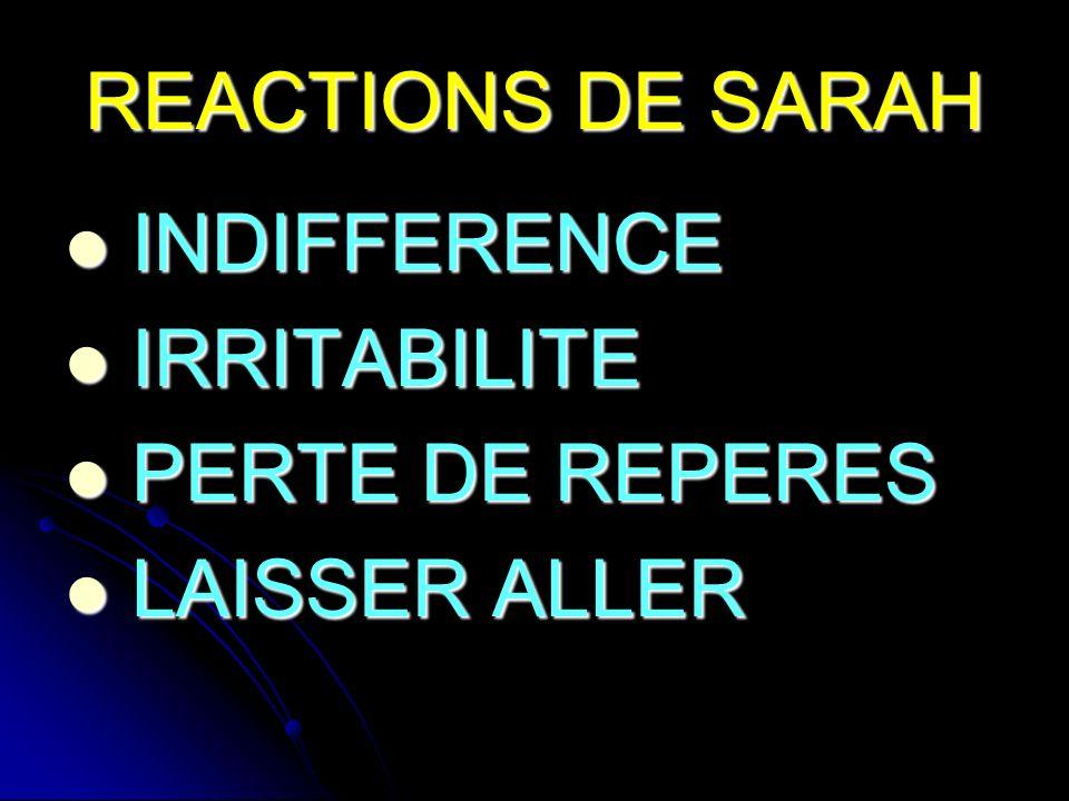 REACTIONS DE SARAH INDIFFERENCE IRRITABILITE PERTE DE REPERES LAISSER ALLER