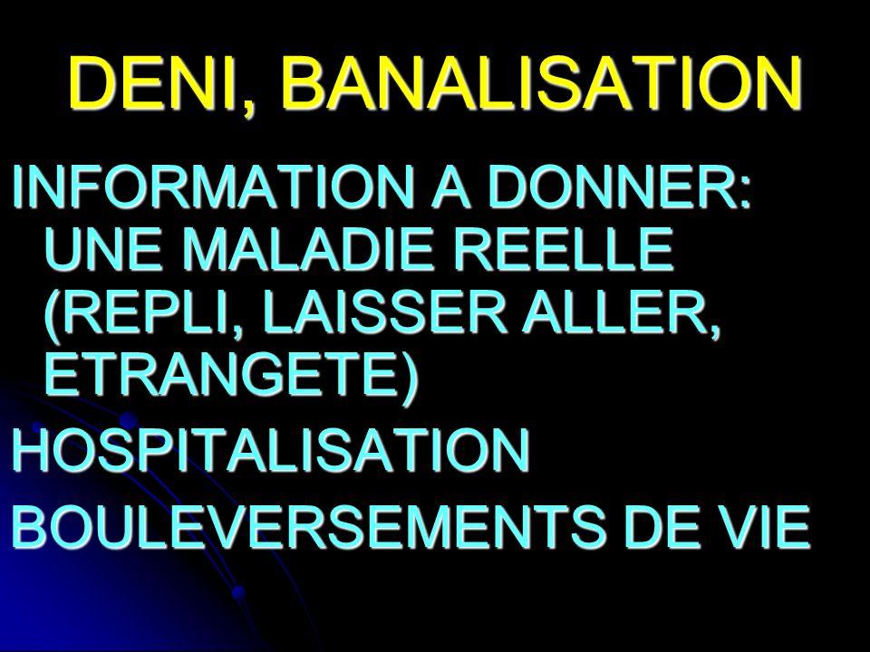 DENI, BANALISATION INFORMATION A DONNER: UNE MALADIE REELLE (REPLI, LAISSER ALLER, ETRANGETE) HOSPITALISATION.