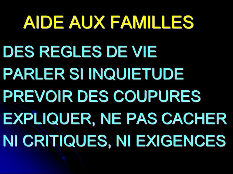 AIDE AUX FAMILLES DES REGLES DE VIE PARLER SI INQUIETUDE