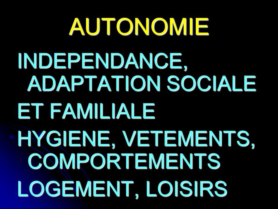 AUTONOMIE INDEPENDANCE, ADAPTATION SOCIALE ET FAMILIALE