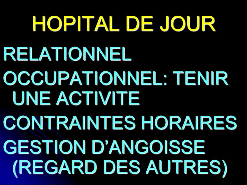 HOPITAL DE JOUR RELATIONNEL OCCUPATIONNEL: TENIR UNE ACTIVITE
