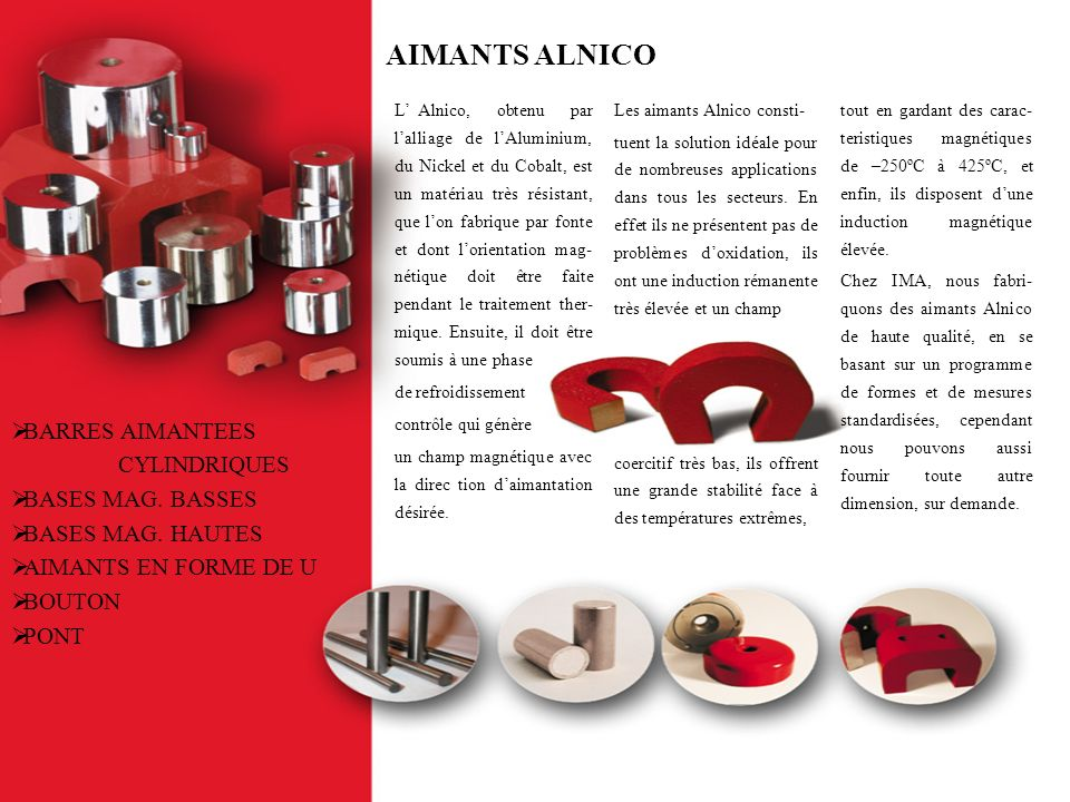 AIMANTS ALNICO BARRES AIMANTEES CYLINDRIQUES BASES MAG. BASSES