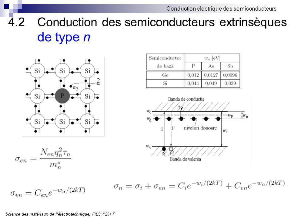 4.2 Conduction des semiconducteurs extrinsèques de type n