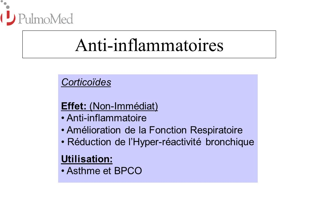 Anti-inflammatoires Corticoïdes Effet: (Non-Immédiat)