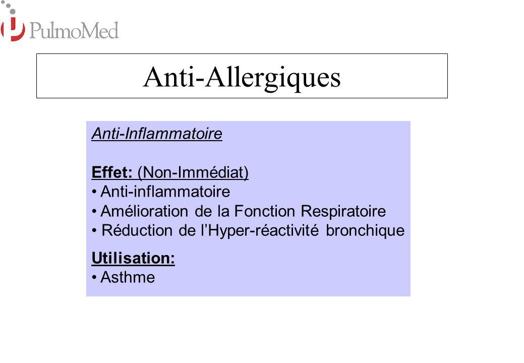 Anti-Allergiques Anti-Inflammatoire Effet: (Non-Immédiat)