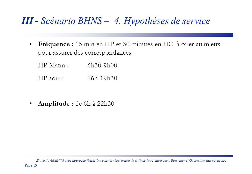 III - Scénario BHNS – 4. Hypothèses de service