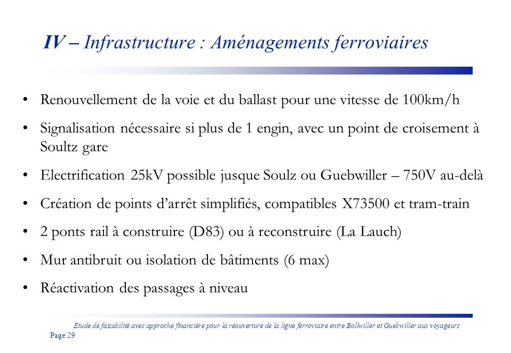 IV – Infrastructure : Aménagements ferroviaires