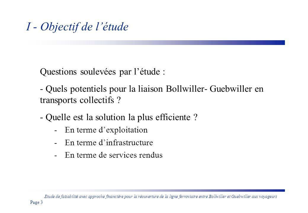 I - Objectif de l'étude Questions soulevées par l'étude :