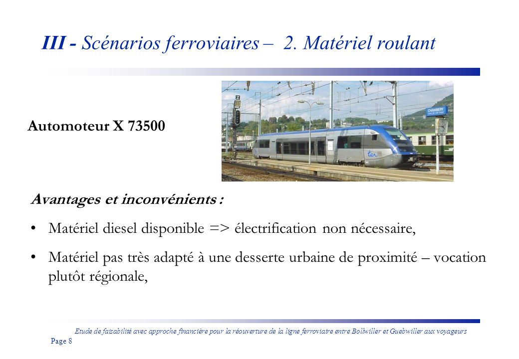 III - Scénarios ferroviaires – 2. Matériel roulant