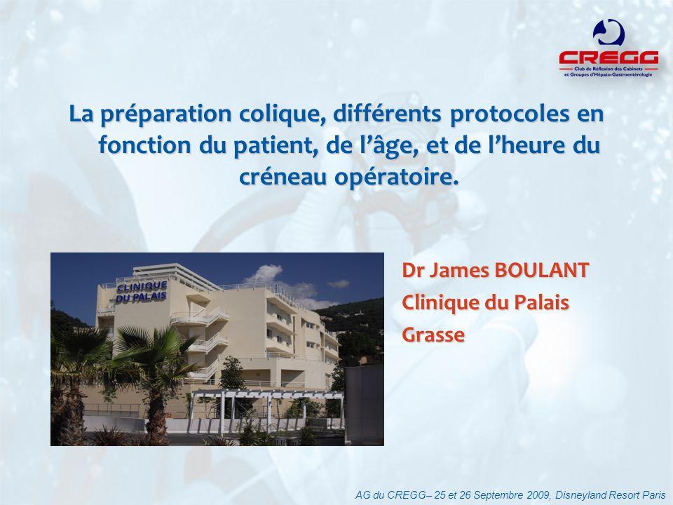 La préparation colique, différents protocoles en fonction du patient, de l'âge, et de l'heure du créneau opératoire.