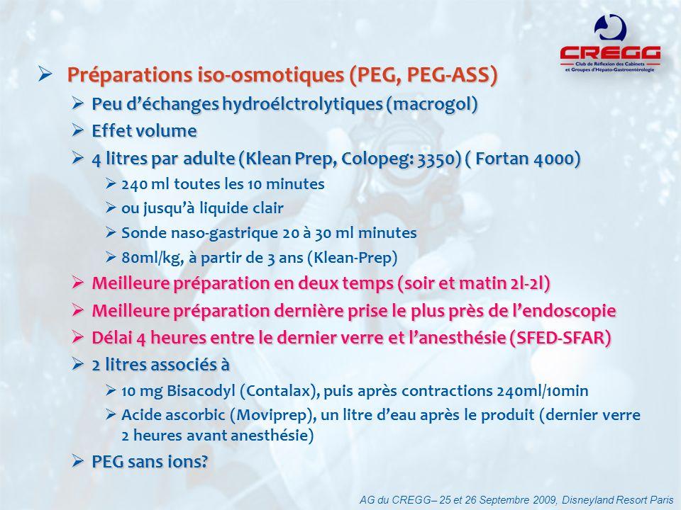 Préparations iso-osmotiques (PEG, PEG-ASS)