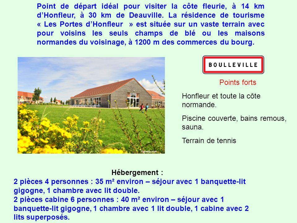 Point de départ idéal pour visiter la côte fleurie, à 14 km d'Honfleur, à 30 km de Deauville. La résidence de tourisme « Les Portes d'Honfleur » est située sur un vaste terrain avec pour voisins les seuls champs de blé ou les maisons normandes du voisinage, à 1200 m des commerces du bourg.