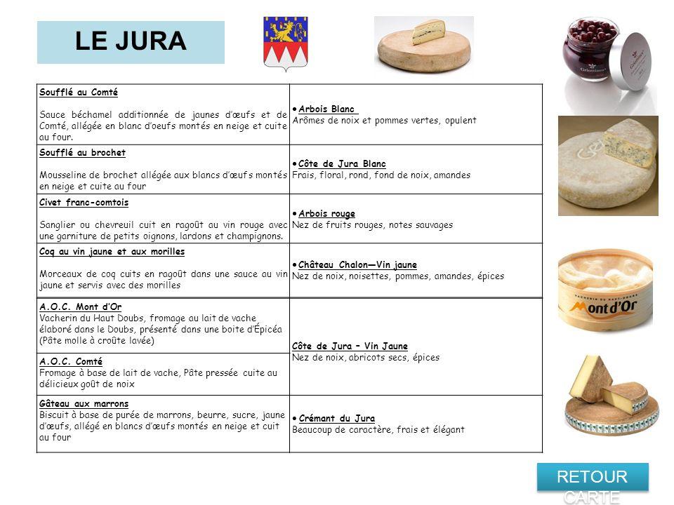 LE JURA RETOUR CARTE · Crémant du Jura Soufflé au Comté