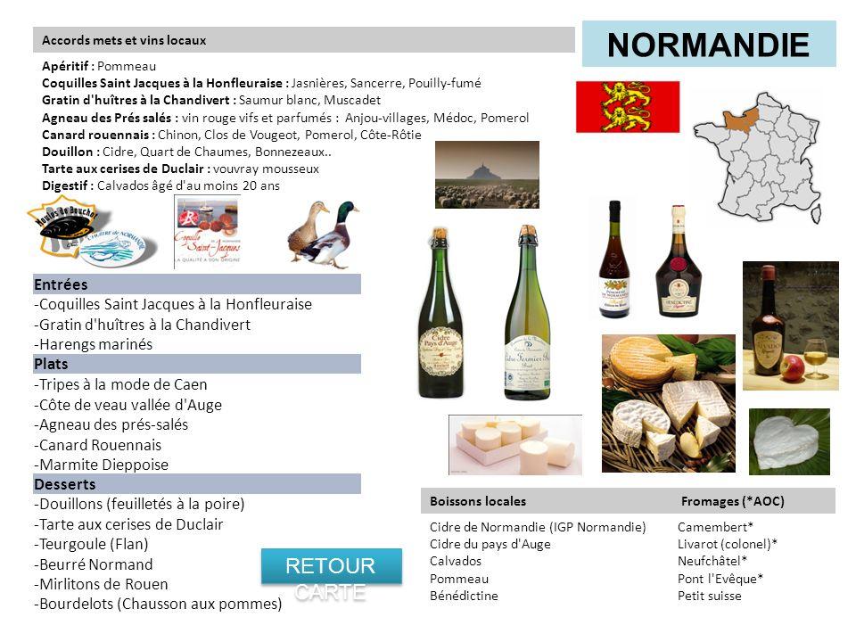 Normandie RETOUR CARTE Entrées