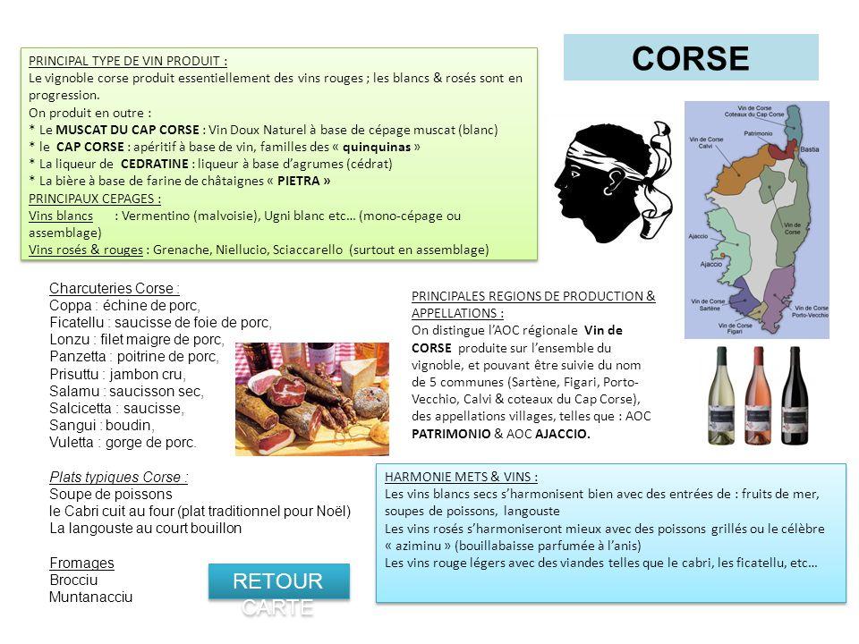 CORSE RETOUR CARTE PRINCIPAL TYPE DE VIN PRODUIT :