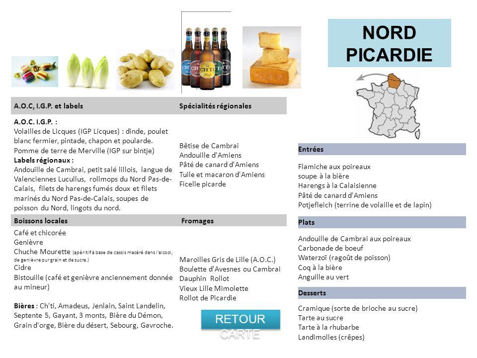 NORD PICARDIE RETOUR CARTE A.O.C, I.G.P. et labels