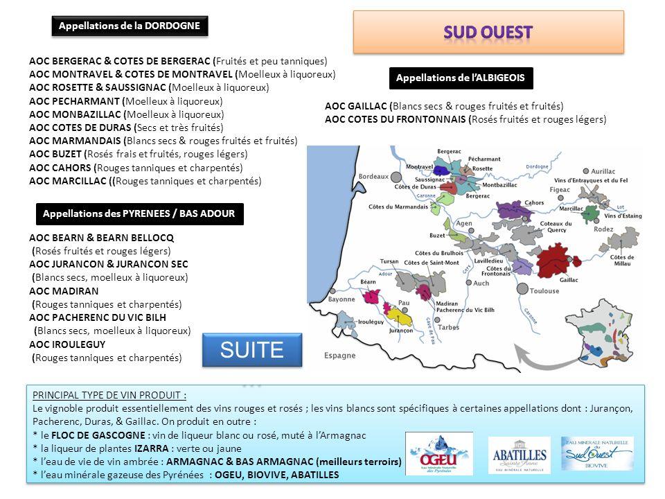 SUITE… Sud ouest Appellations de la DORDOGNE