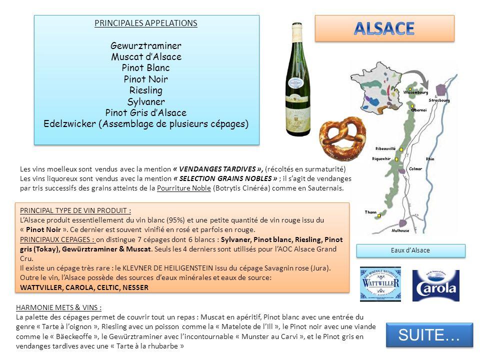 ALSACE SUITE… PRINCIPALES APPELATIONS Gewurztraminer Muscat d'Alsace