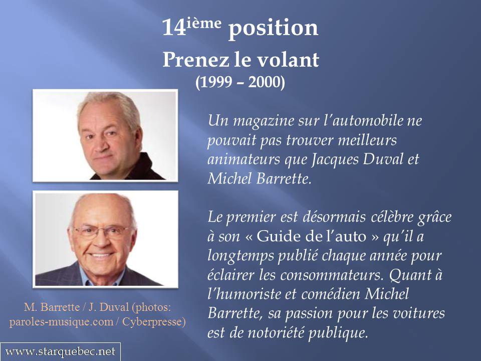 M. Barrette / J. Duval (photos: paroles-musique.com / Cyberpresse)