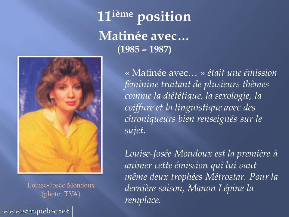 11ième position Matinée avec… (1985 – 1987)