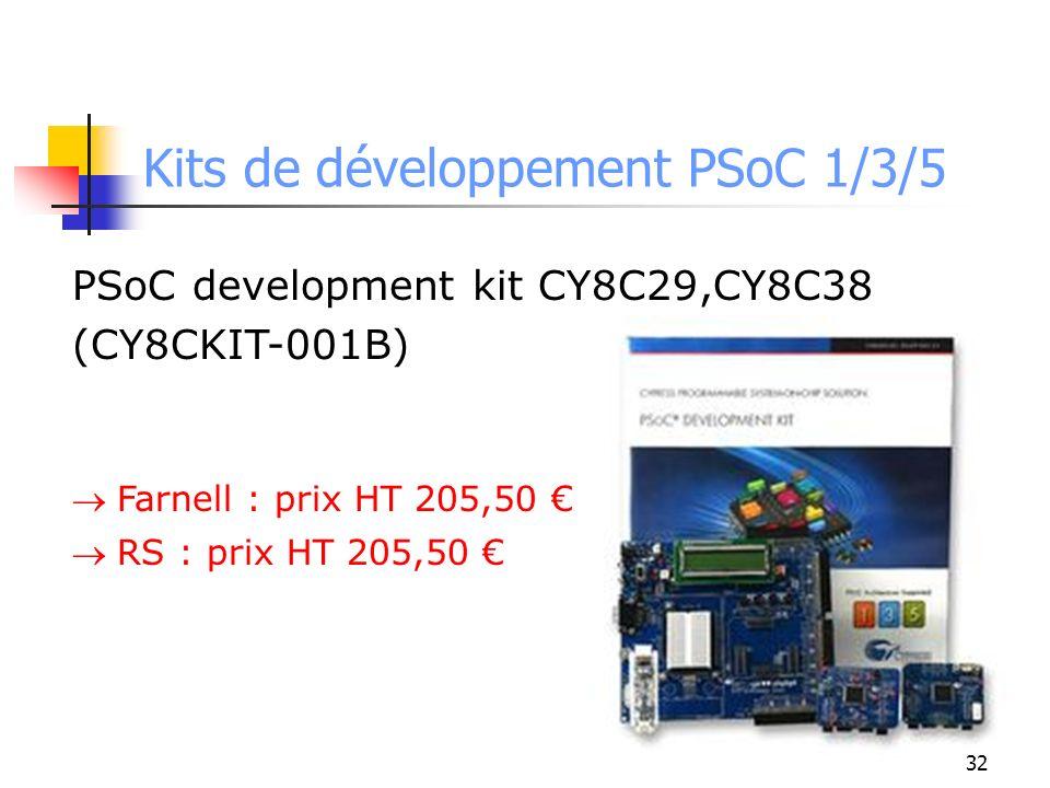 Kits de développement PSoC 1/3/5