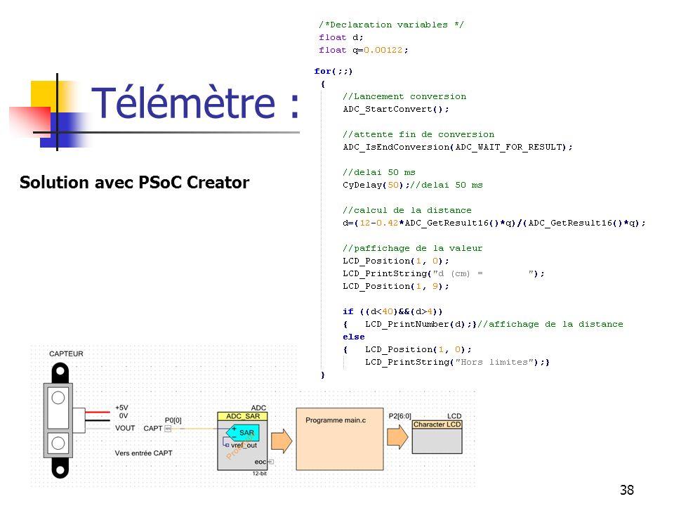 Télémètre : Solution avec PSoC Creator