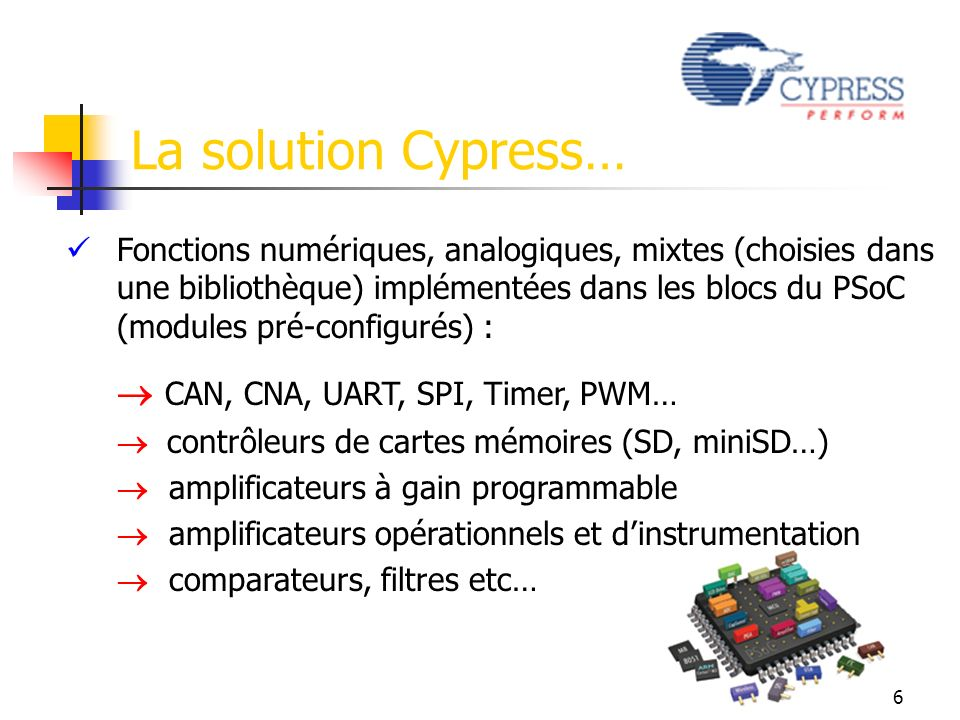La solution Cypress…  CAN, CNA, UART, SPI, Timer, PWM…