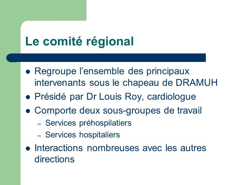 Le comité régional Regroupe l'ensemble des principaux intervenants sous le chapeau de DRAMUH. Présidé par Dr Louis Roy, cardiologue.
