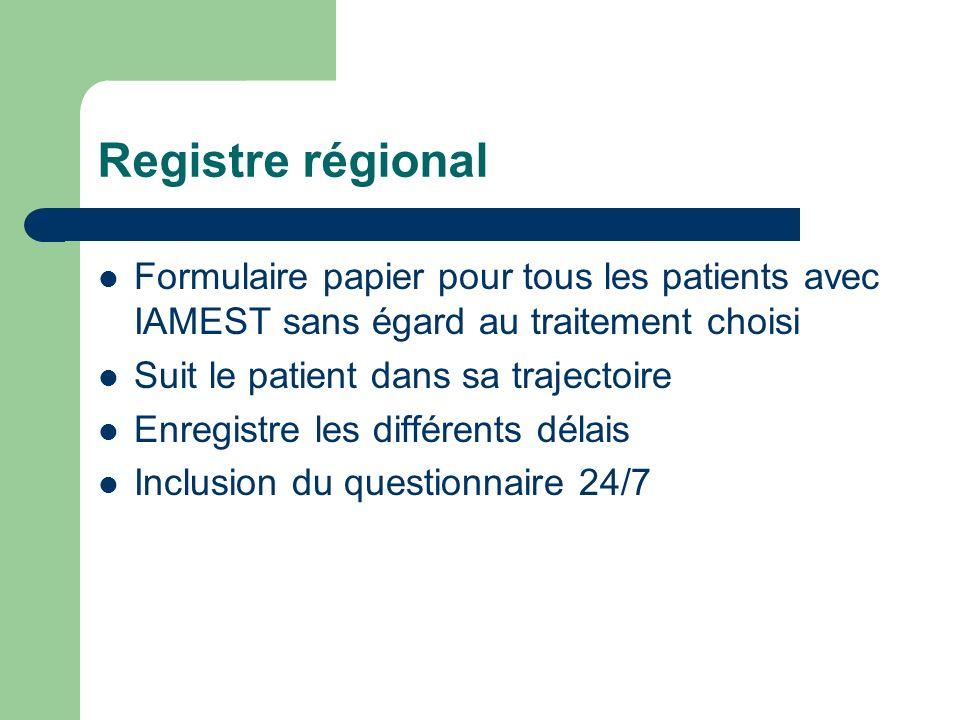 Registre régional Formulaire papier pour tous les patients avec IAMEST sans égard au traitement choisi.