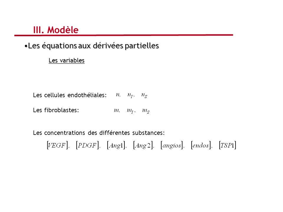 III. Modèle Les équations aux dérivées partielles Les variables