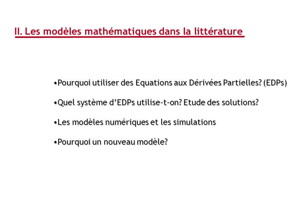 II. Les modèles mathématiques dans la littérature