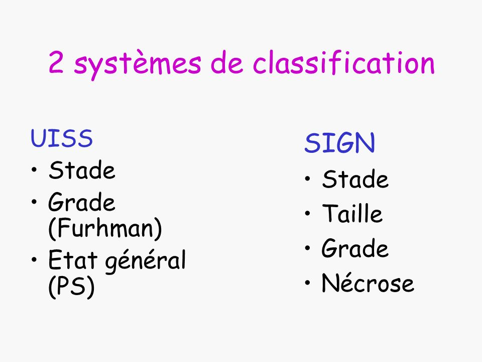 2 systèmes de classification