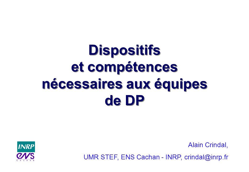 Dispositifs et compétences nécessaires aux équipes de DP